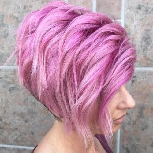 Layered Stacked Pastel Pink Bob short hairstyles for thick hair