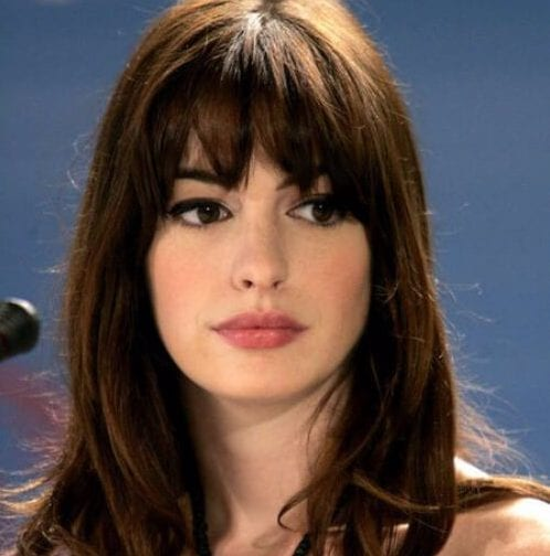 anne hathaway long hair with bangs