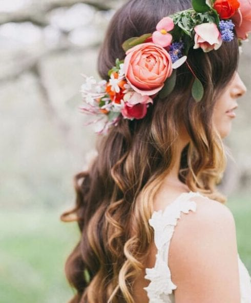 bohemian garden wedding hairstyles for long hair