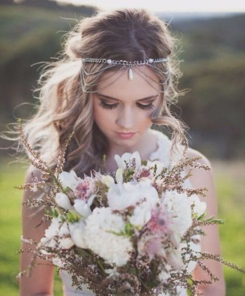 boho draping chain wedding hairstyles for long hair