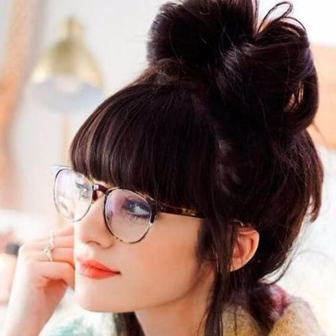 bow long hair with bangs