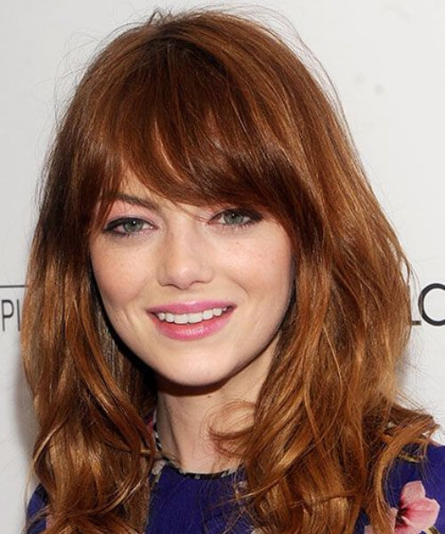 emma stone long hair with bangs