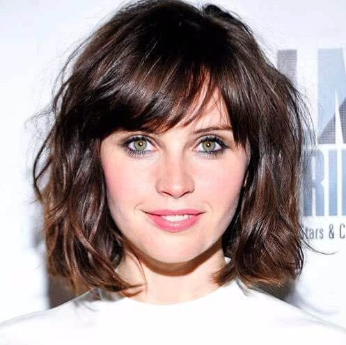 felicity jones short hairsyles for thick hair