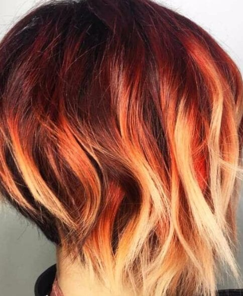 fire short hair ombre