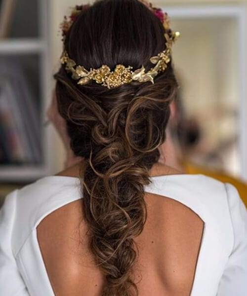 golden gloral crown wedding hairstyles for long hair
