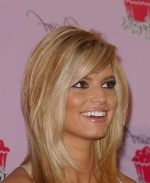 jessica simpson side swept bangs