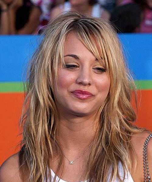 kaley cuoco side swept bangs