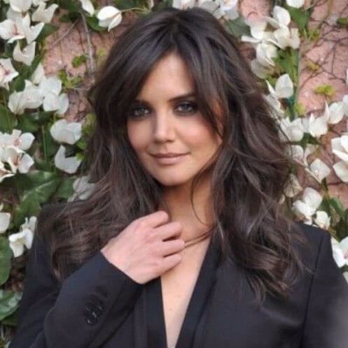 katie holmes long hair with bangs