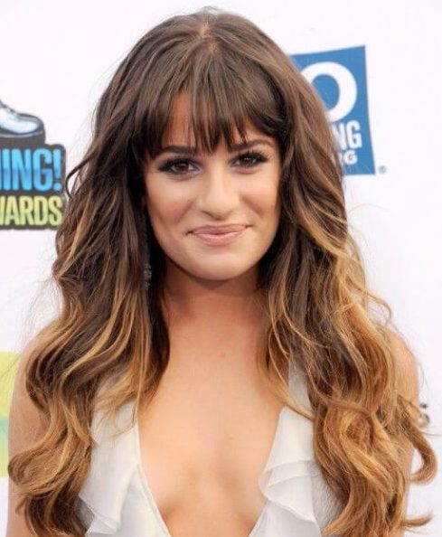 lea michelle long hair with bangs