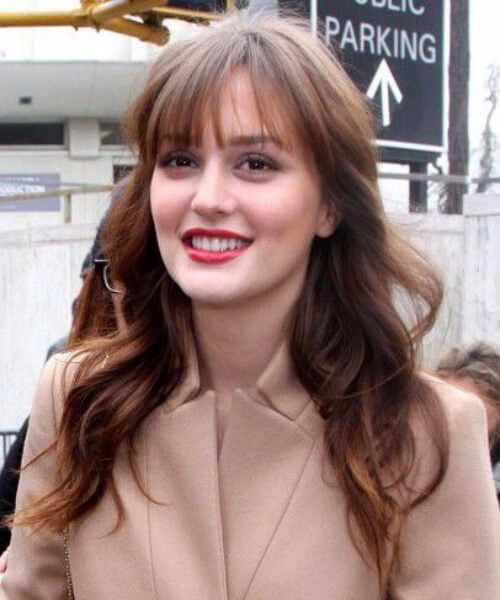 leighton meester long hair with bangs