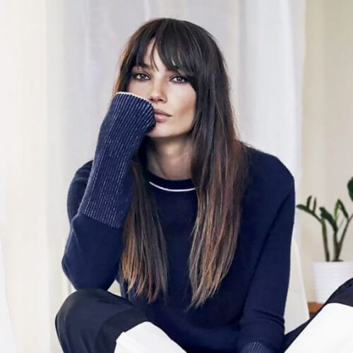lily aldridge long hair with bangs