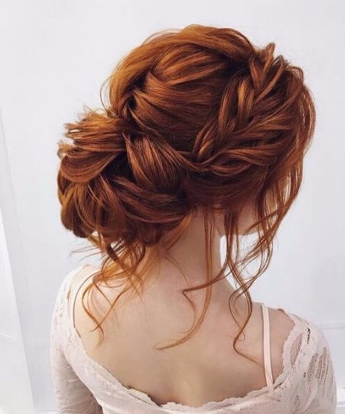 messy fishtail bun wedding hairstyles for long hair