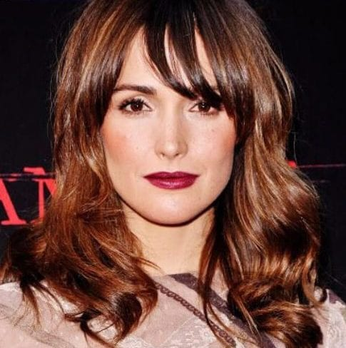 rose byrne long hair with bangs