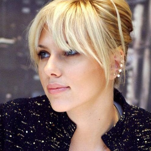 scarlet johansson long hair with bangs