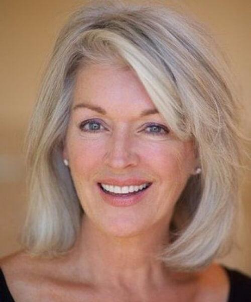 shoulder length bob side swept bangs hairstyles for women over 60