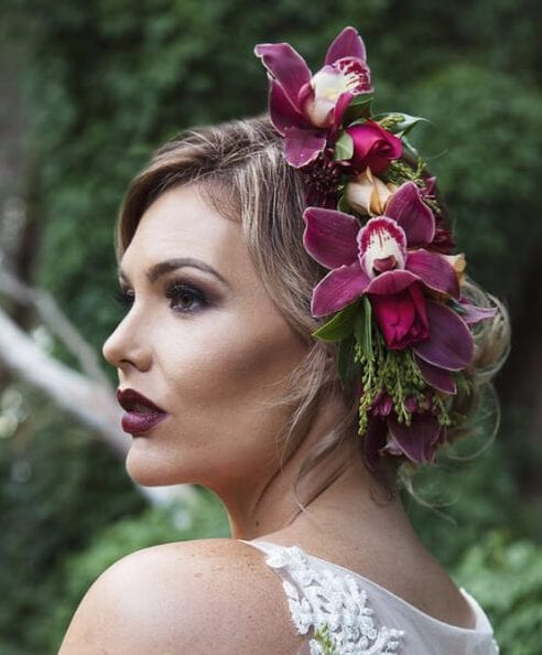 violet orchids wedding hairstyles for long hair