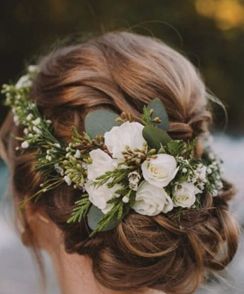 winter wedding pine tree wedding hairstyles for long hair