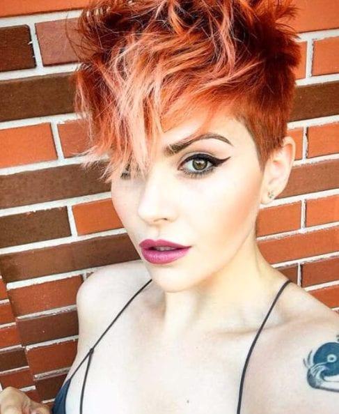 auburn red pixie balayage short hair