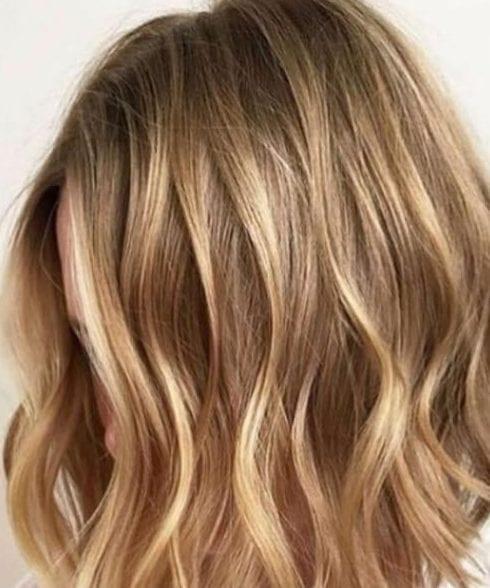 balayage short hair blonde Caramel, Honey, Copper Highlights