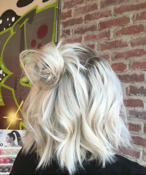 balayage short hair blonde silver