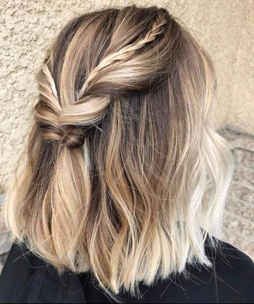 Balayage short hair brown to blonde