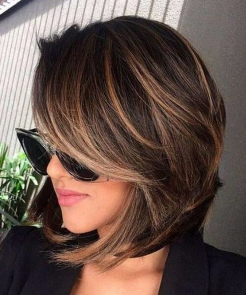 brunette with blonde balayage short hair