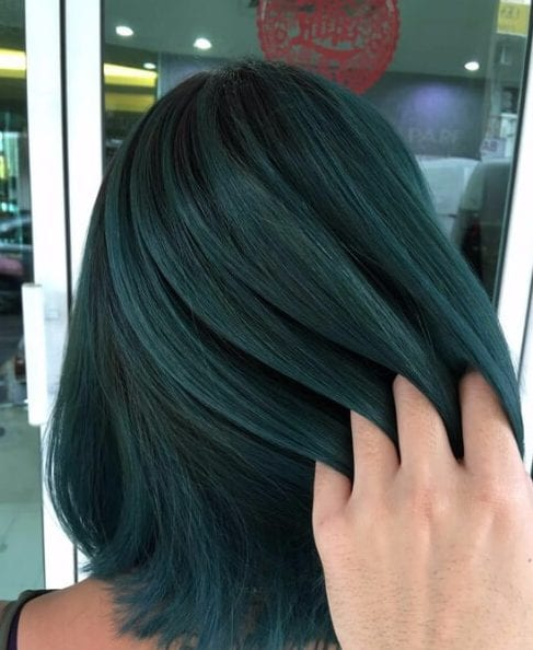 forest green balayage short hair