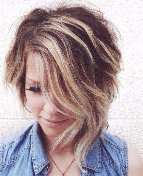 grape blonde balayage short hair