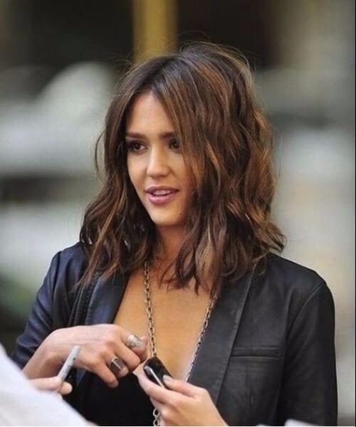 jessica alba brunette balayage short hair