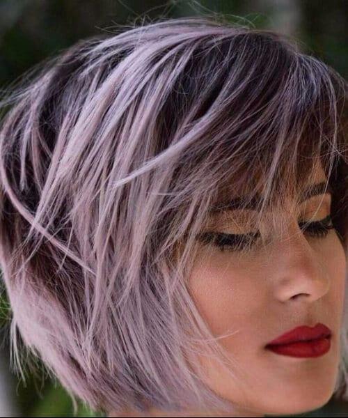 pink balayage short hair