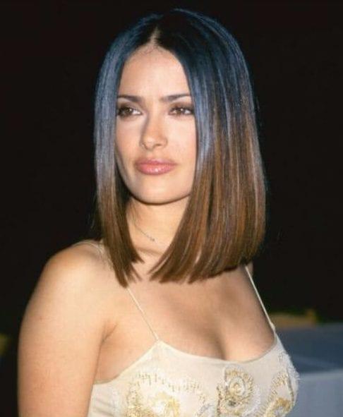salma hayek long bob haircuts