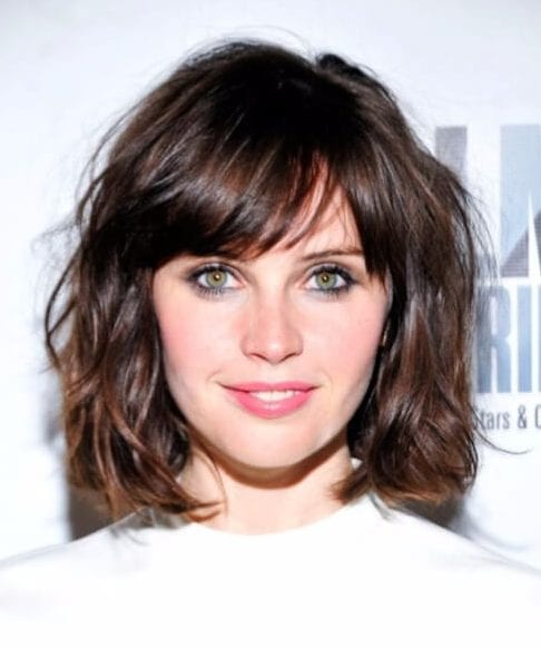 felicity jones short hair with bangs