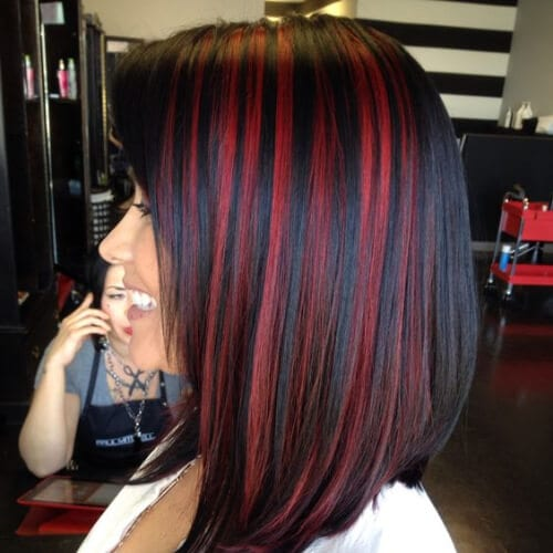 black and red peekaboo highlights