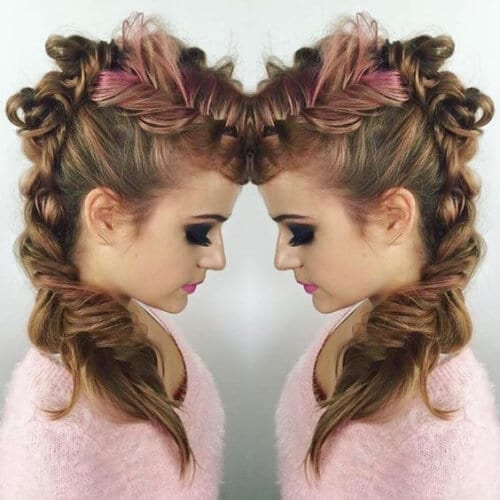 bonbon pink braided mohawk