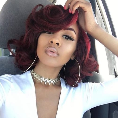 cherry red bob hairstyles for black women