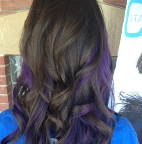 dark brown purple peekabo highlights