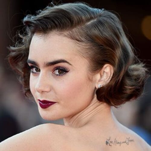 lily collins prom hairstyles for short hair