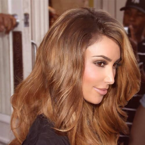kim k honey brown hair