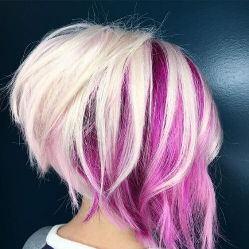 Blonde balayage with pink highlights