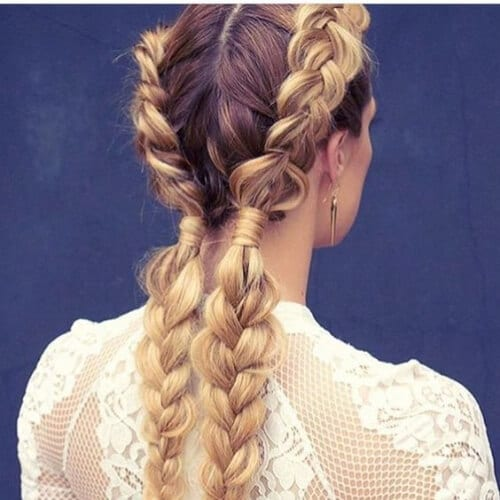 blonde and brown braid hairstyles for long hair