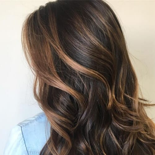 caramel on brown highlights and lowlights