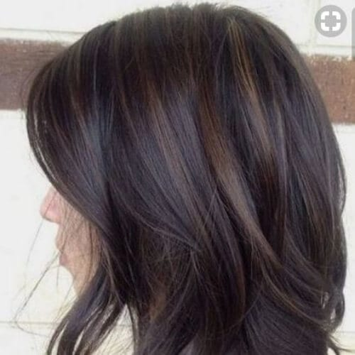 caramel on dark brown low highlights and lowlights