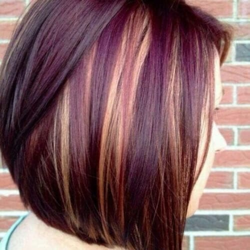 grape short hair with highlights