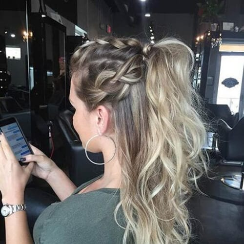half up half down braid hairstyles for long hair