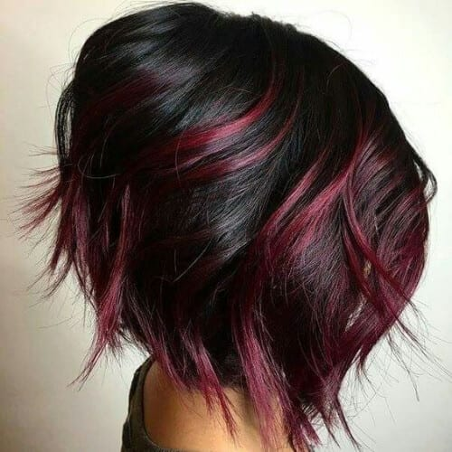 marsala short hair with highlights