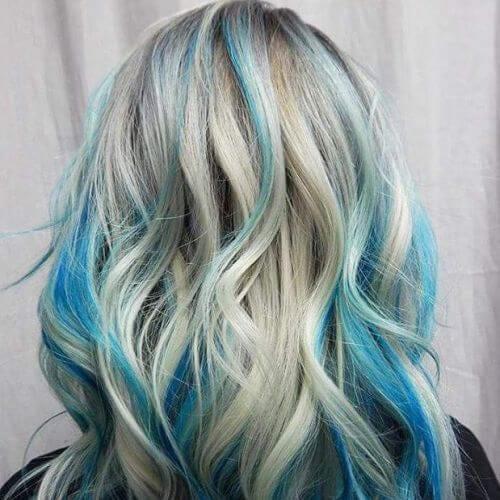 pastel blue on platinum blonde high highlights and lowlights