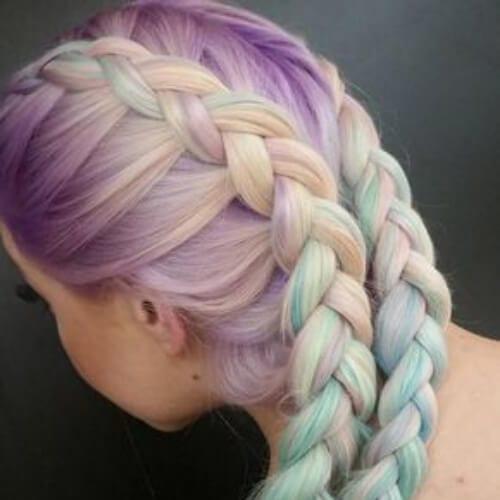 pastel braid hairstyles for long hair