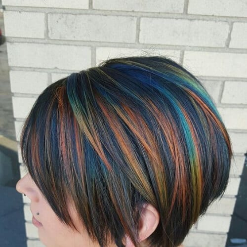 peacock short hair with highlights