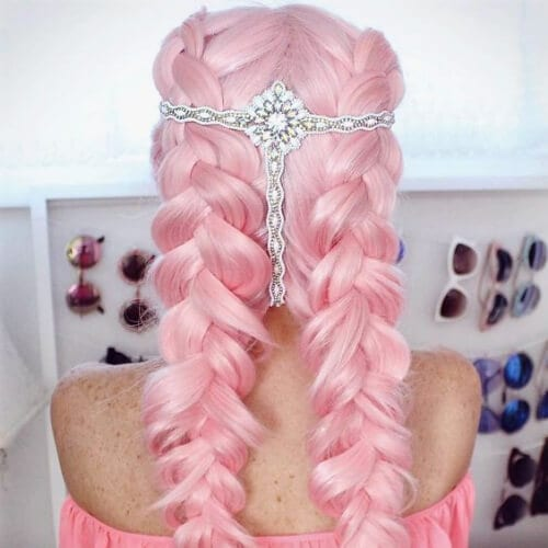pink braid hairstyles for long hair