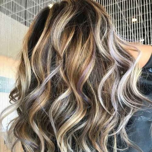platinum on brown highlights and lowlights